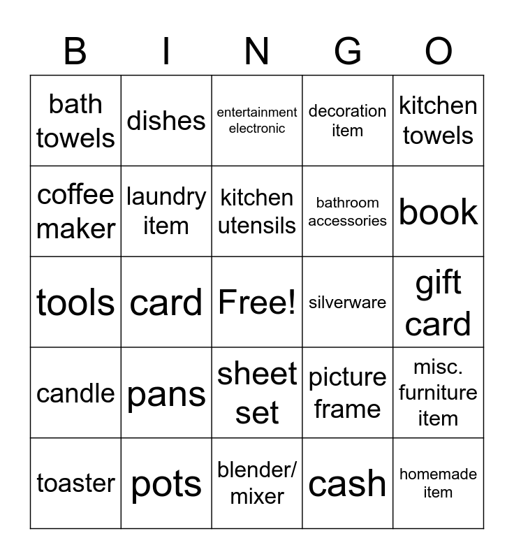 Gifts Bingo Card