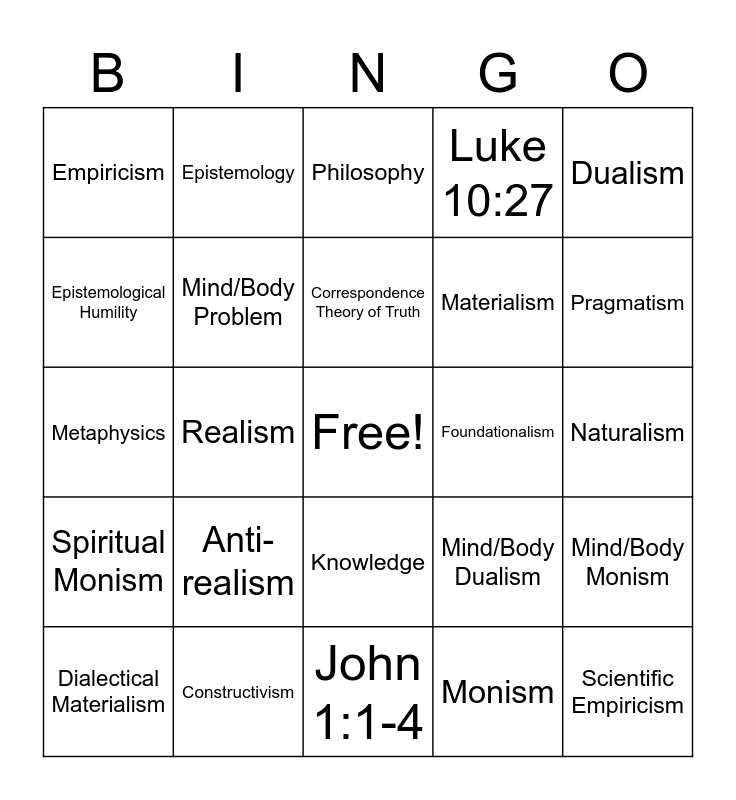 Philosophy Bingo Card