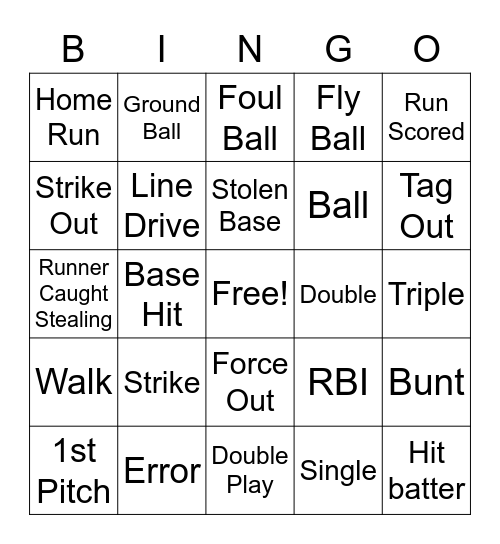 Softball Bingo Card