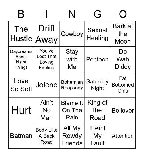 Music Bingo 5-1, Music Bingo 5 Bingo Card