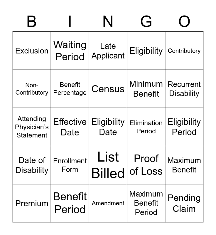 Insurance Bingo Card