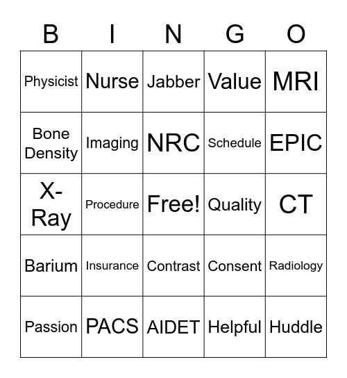 Radiology Tech Week 2018 Bingo Card