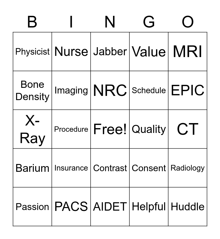 Radiology Tech Week 2018 Bingo Card
