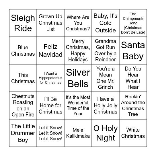 Christmas Songs Bingo Card