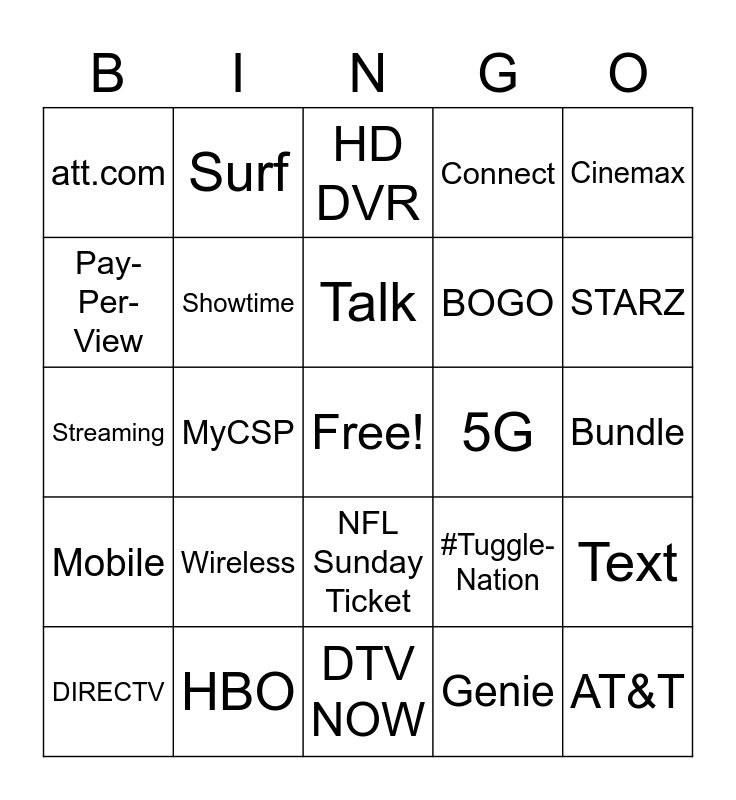 More For Your Thing Bingo Card