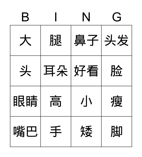 Parts of the body (Chinese) Bingo Card