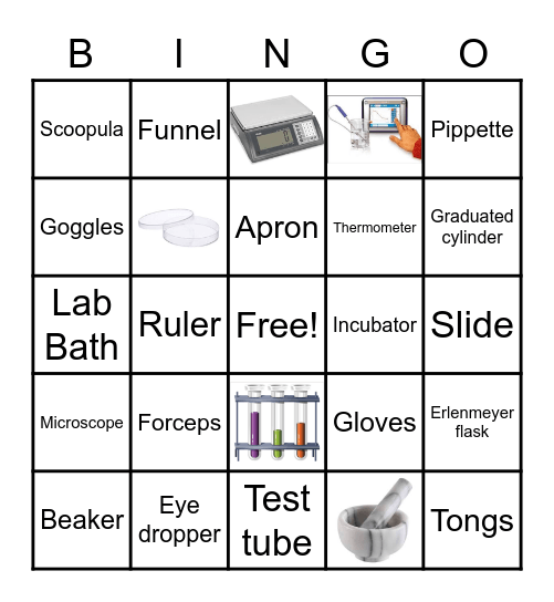 Lab Equipment Bingo Card