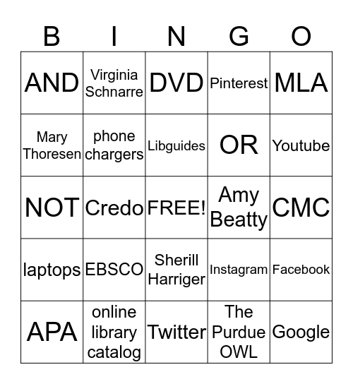Welcome to the Library Bingo Card