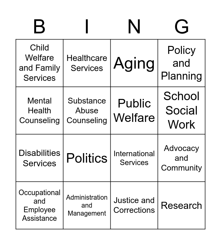 SOCIAL WORK BINGO Card