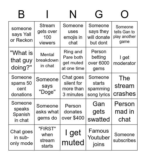 Twitch Stream Bingo Card