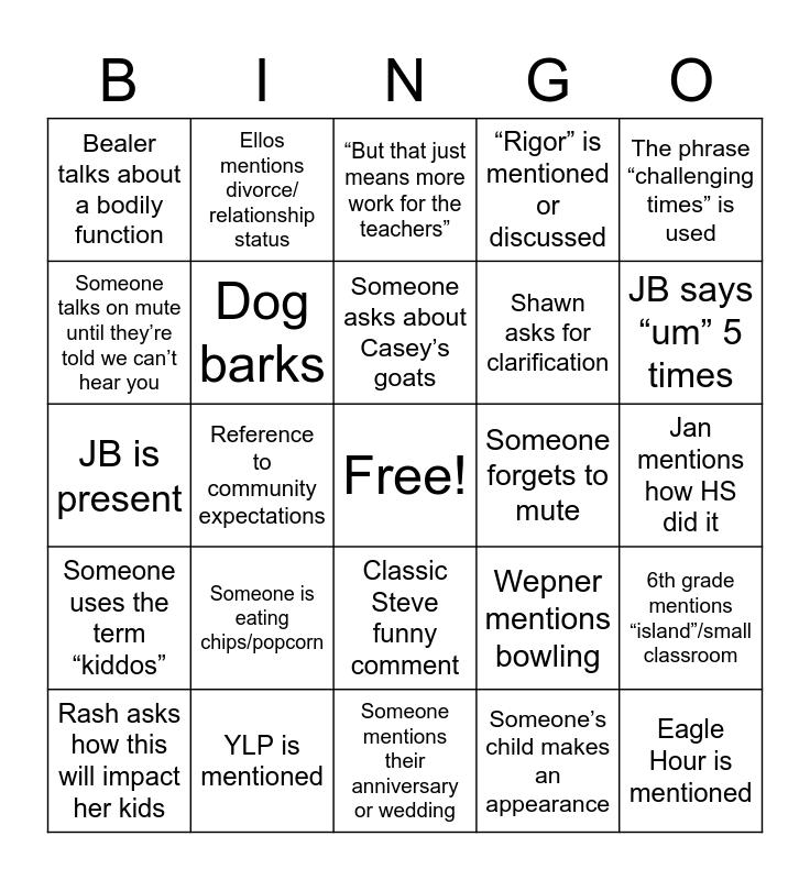 Zoom-go Bingo Card
