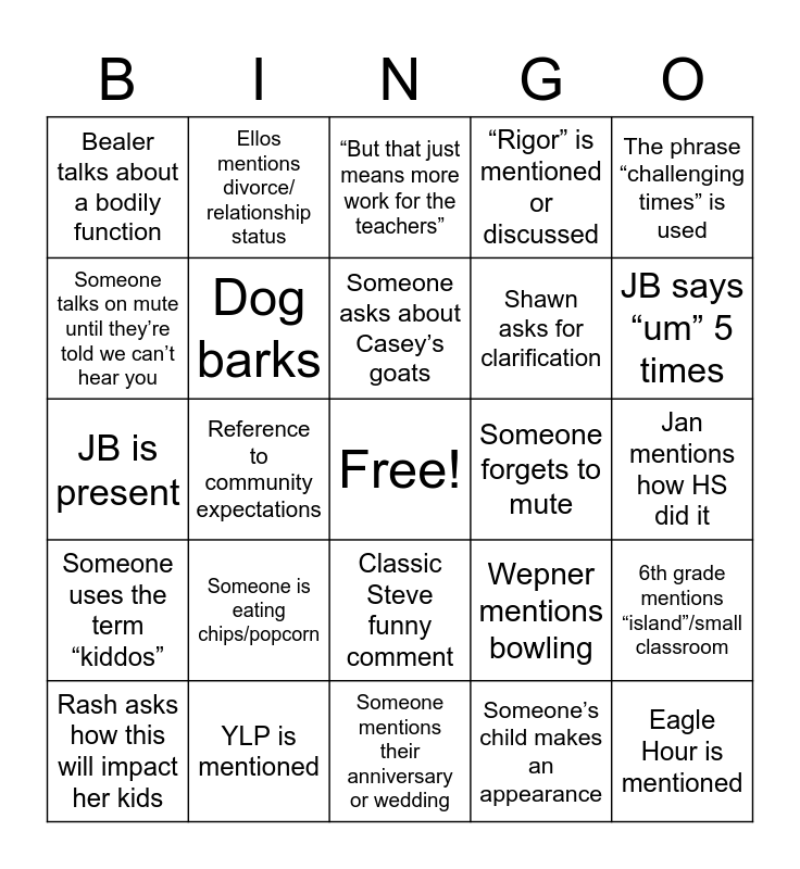Zoom-go Bingo Card