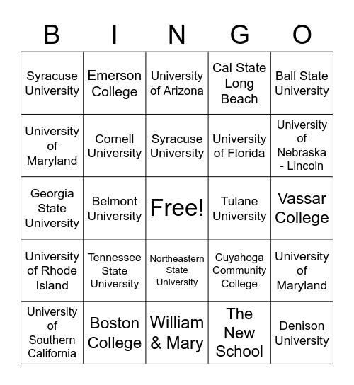 College Bingo! Bingo Card
