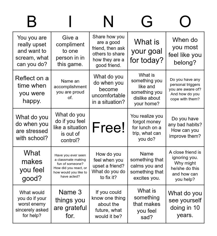 Emotional Regulation Bingo Card