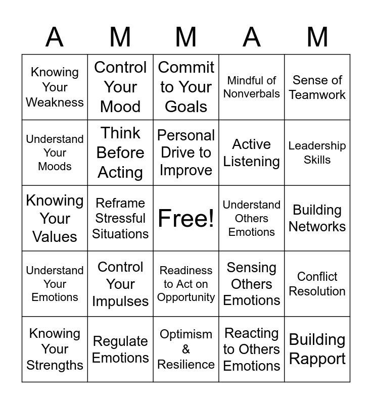 Emotional Intelligence Bingo  Bingo Card