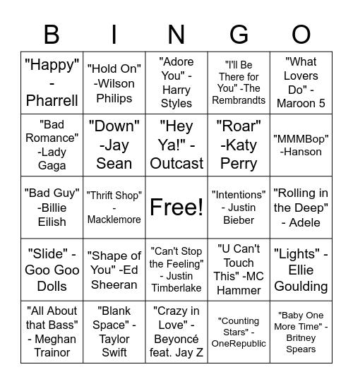 SINGO - Pop Hits Bingo Card