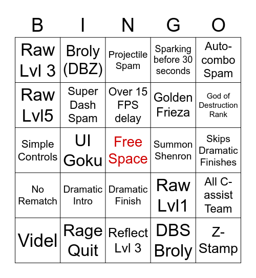 FighterZ Bingo Card