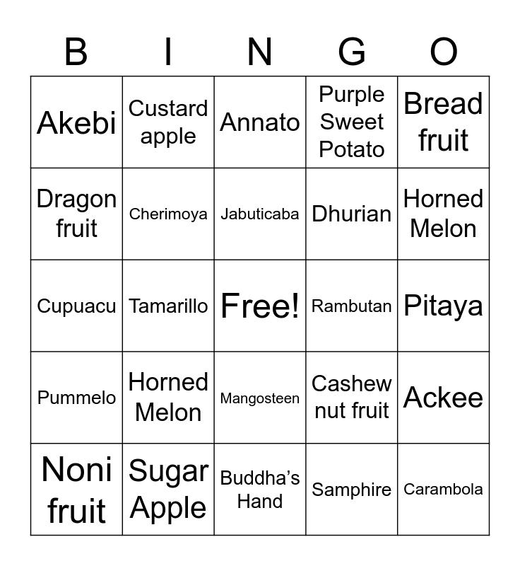 Exotic Fruits Bingo Card