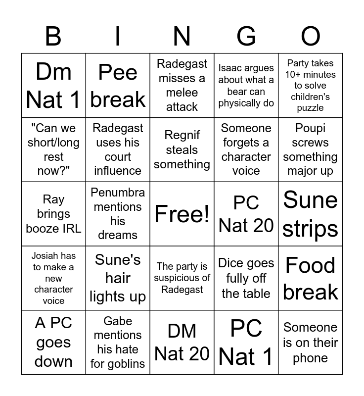 D&D Night Bingo Card
