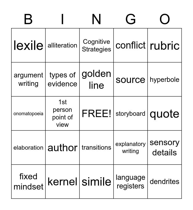 Vocabulary Terms Bingo Card