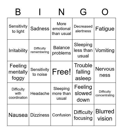 Concussion Symptoms Bingo Card