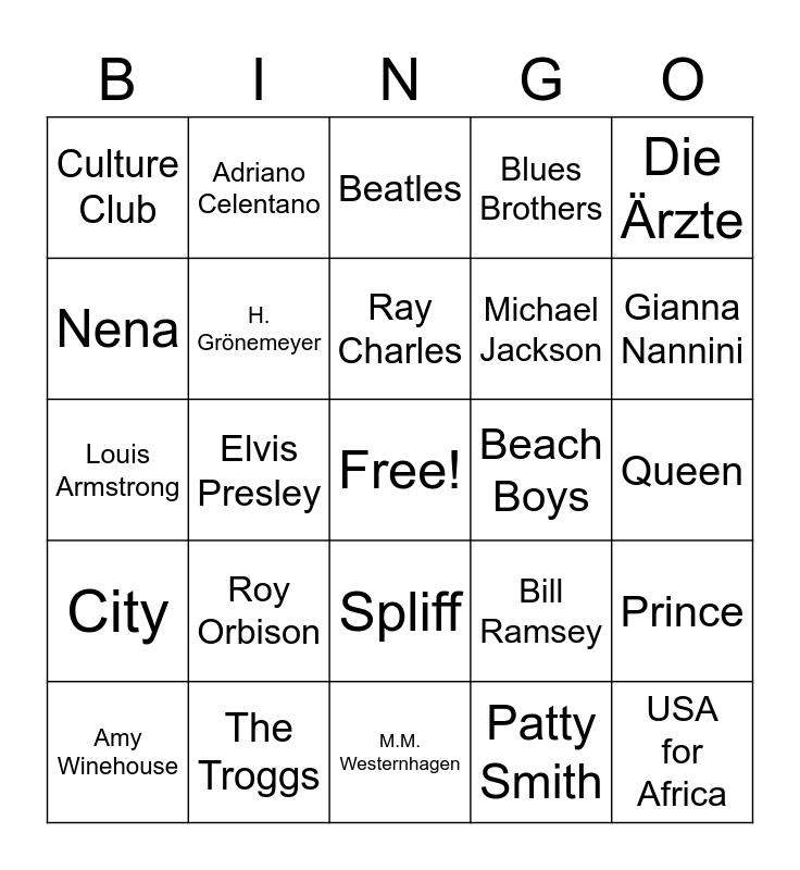 Musik-Bingo Card