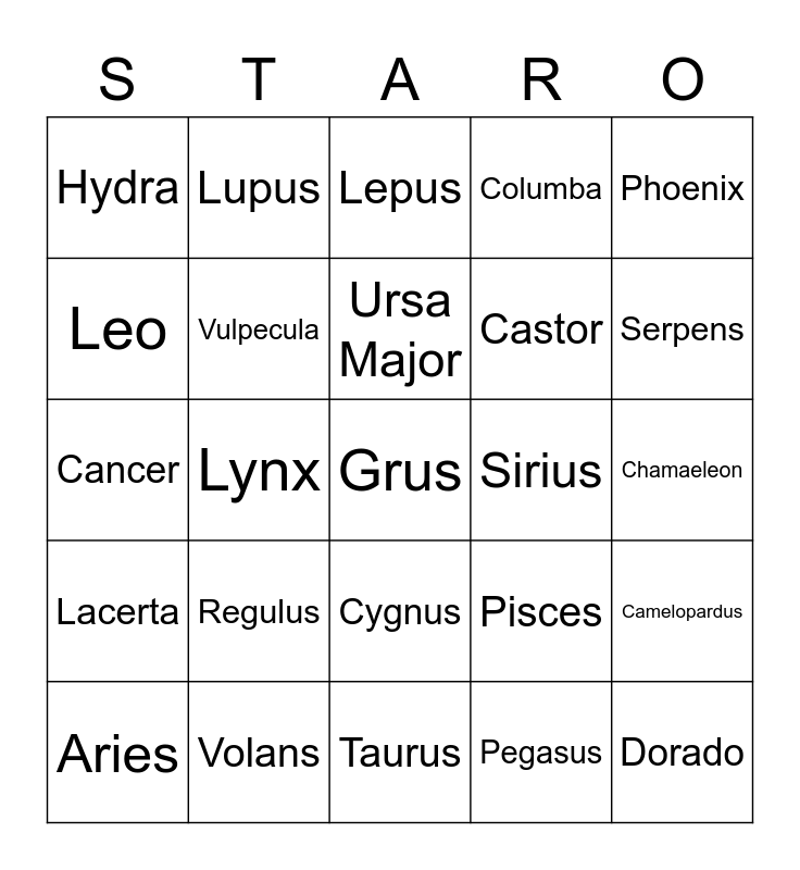 Constellation Star-o Bingo Card