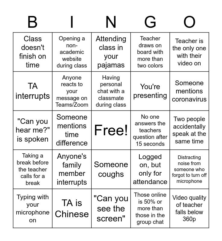 Online Learning Bingo Card