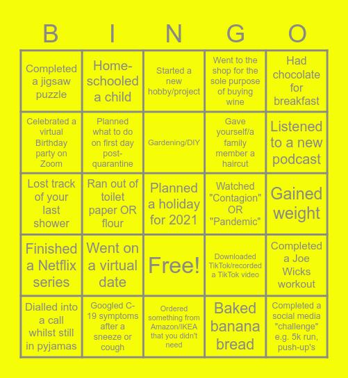 BCM Quarantine Bingo Card