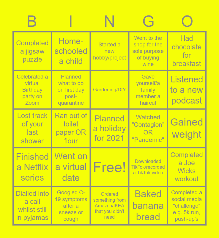 BCM Quarantine Bingo Card