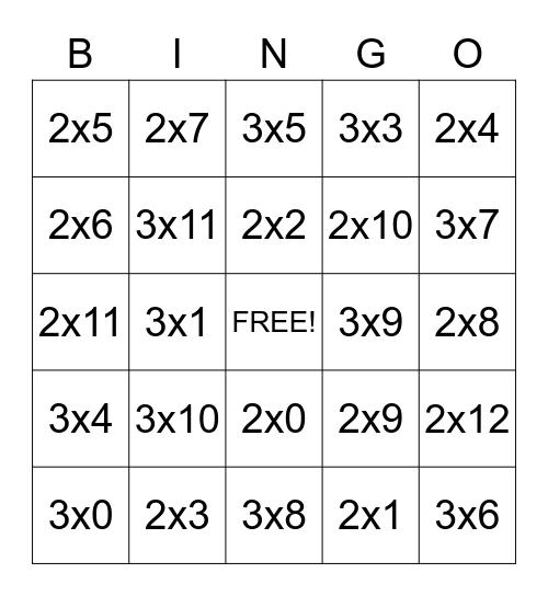 Multiplication Bingo Card
