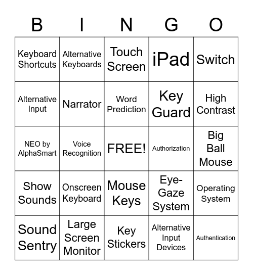 Computer Class Vocabulary Bingo Card