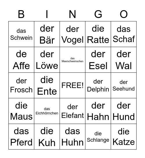 Welches Tier hörst du? Bingo Card