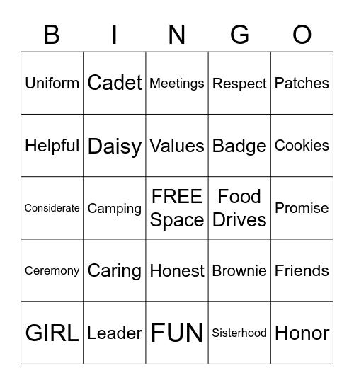 Girl Scout Bingo Card