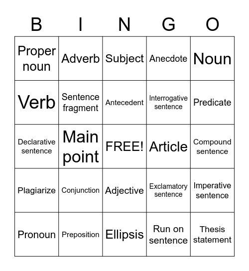 English Writing Bingo Card
