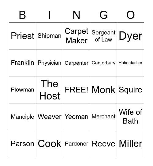 Canterbury Tales Bingo Card