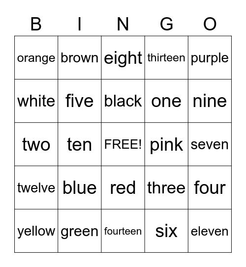 Colors & Numbers Bingo Card