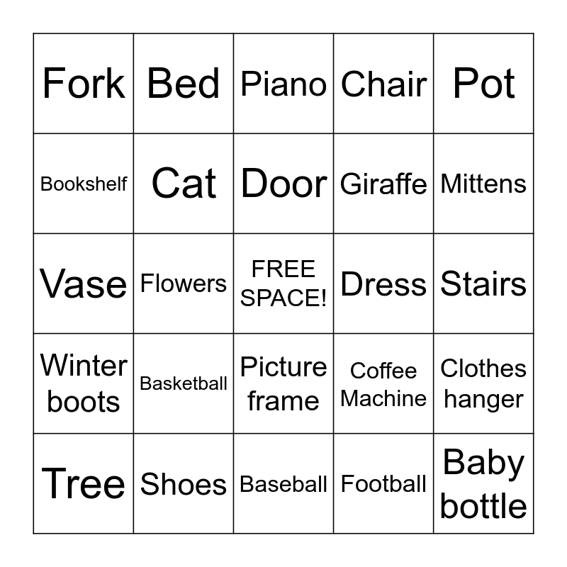 Scavenger Hunt Bingo Card