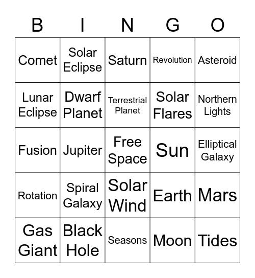 Space Bingo Card