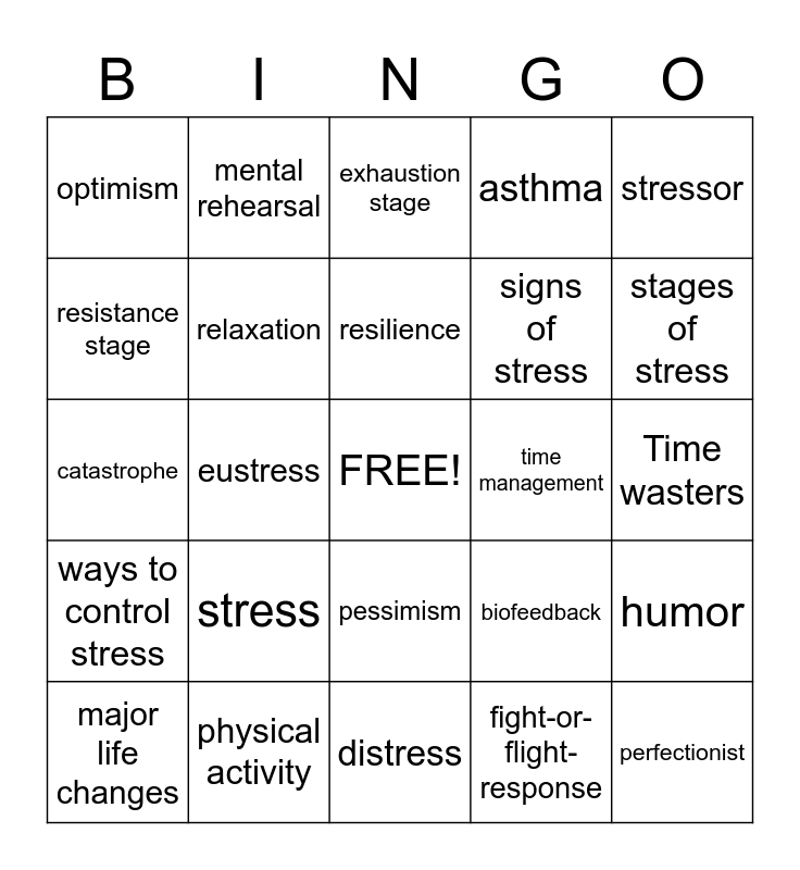 Stress Management Bingo Card