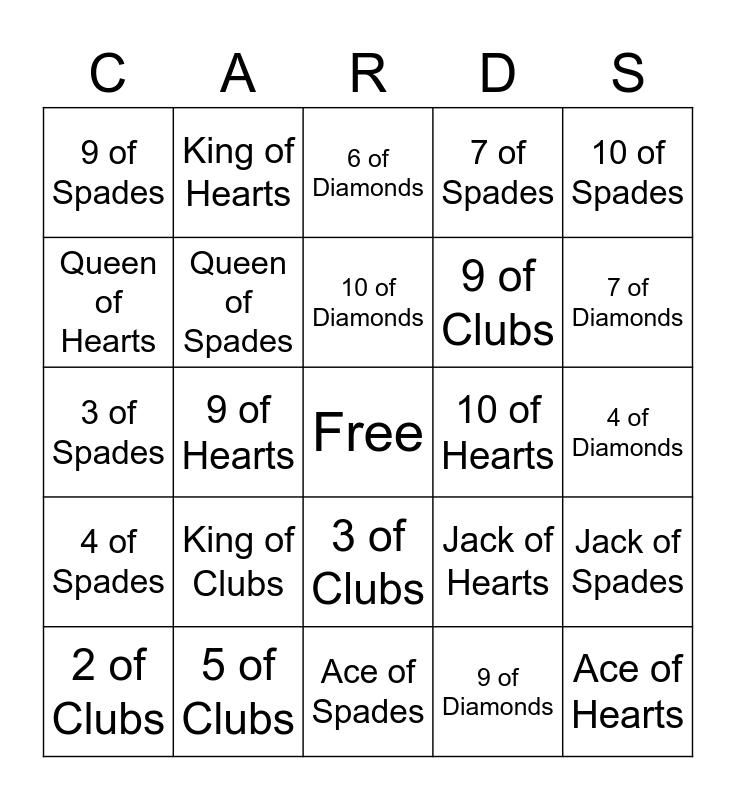 PLAYING CARDS BINGO Card