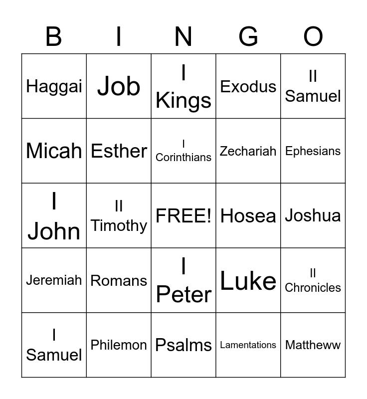 Bible Book Bingo Card