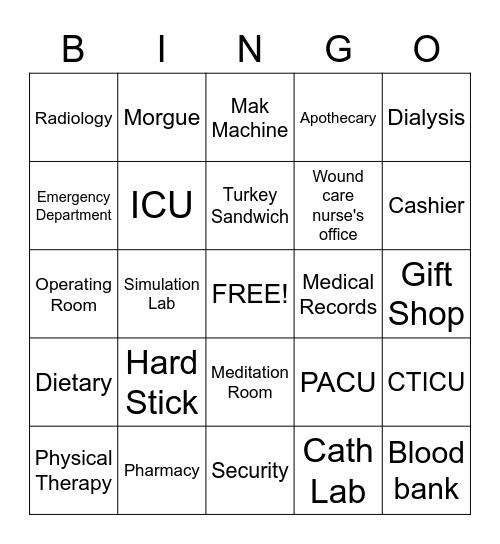 Hospital  Bingo Card
