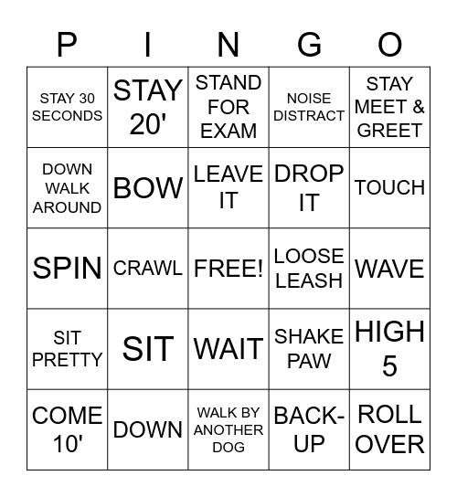 Dog Show Bingo Card