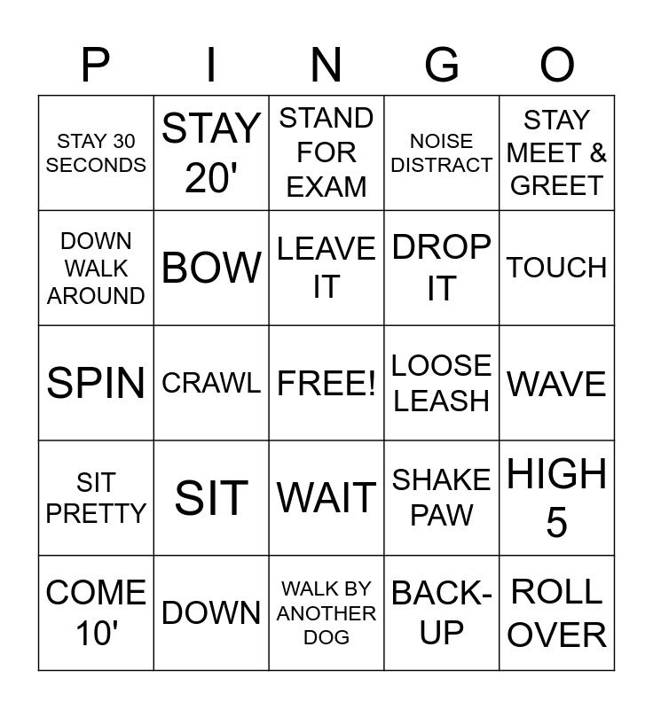 Dog Show Bingo Card