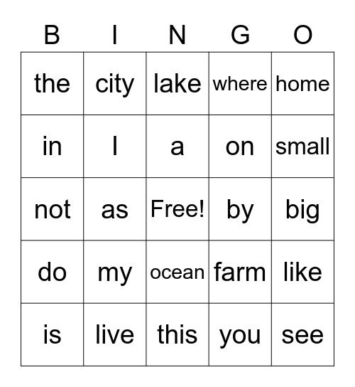 PCI Bingo Words 1-25, Sight Word Bingo for PCI, PCI Bingo Card