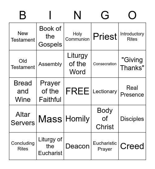 Eucharist Bingo Card
