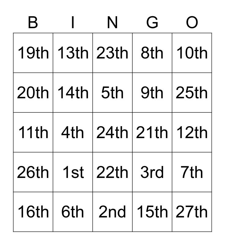 Amendment Bingo Card