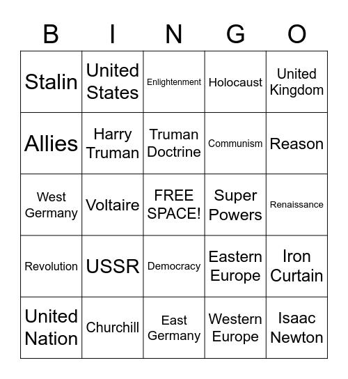 History Review Bingo Card