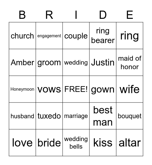 Bridal Shower Bingo! Bingo Card